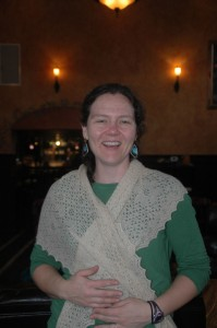 Sage Modeling Carrie Allen's Beautiful Angora Scarf