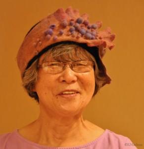 Kathy K. Admiring Leslie's Felted Hat