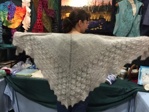 Carolyn showing off her gorgeous angora shawl!